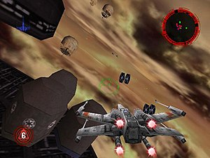 Star Wars: Rogue Squadron - The R2 unit and exhaust flames on the player's X-wing are examples of graphical detail that were praised by reviewers.