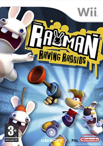 Rayman Raving Rabbids - European Wii version cover of the game
