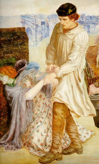 Smock-frock - A 19th-century shepherd in a smock-frock.  Detail from Found by Dante Gabriel Rossetti, 1854.
