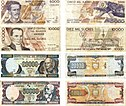Ecuadorian Sucre notes used in the last years before dollarization.