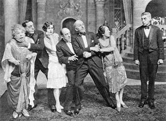 Aldwych farce - Aldwych company in Thark (1927). From left: Mary Brough, Ralph Lynn, Winifred Shotter, Robertson Hare, Tom Walls, Ethel Coleridge and Gordon James