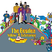 A colorful cartoon-style drawing of the Beatles and other characters from the Yellow Submarine film