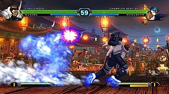 The King of Fighters XIII - A gameplay screenshot showing a fight in The King of Fighters XIII, featuring Maxima fighting against Elisabeth Blanctorche