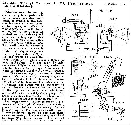 Tihanyi radioskop patent
