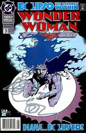Eclipso - Wonder Woman possessed by Eclipso. Art by Joe Quesada.