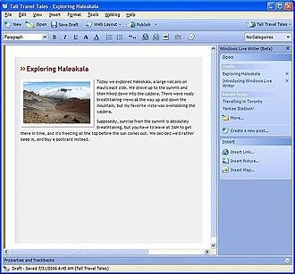 Windows Live Writer - Image: Wlwriter 1