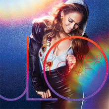 A rainbow background with a woman, in the word downside of rainbow-colour is JLO and inside of JLO is (WHAT IS) LOVE?
