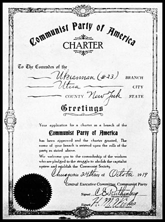 Communist Party USA - Charter for a local unit of the CPUSA dated October 24, 1919
