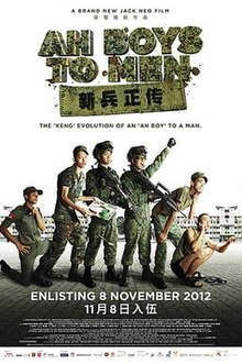 All characters depicted in the poster are wearing green army uniform and black leather shoes, with the exception of one. From left to right: an Indian male is crouching on the tiled ground. He is wearing a red armband. His face is partially tilted to the front. Beside him is a Chinese male facing front and standing. He is holding a metal tray in his arms. In the centre is a Chinese male; he is facing right and carrying a gun. Next to him is another Chinese male raising up his clenched left fist and holding a gun in the other hand. A Malay male beside is looking upwards; his body is partially titled. Lastly, on the far right, a Chinese male is squatting. He is wearing a green singlet and a pair of slippers while holding a phone next to his ear. In the background is Singapore's Basic Military Training Centre.