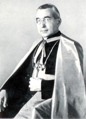 Dr. Alois Hudal, Roman Catholic bishop–and,during the 1930s, an honorary member of the Nazi Party. Title page of the book The Foundations of National Socialism (1937).