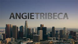 A city view with the words ANGIE TRIBECA against the blue sky, the first word in black text, the second in gray text
