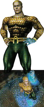 "The upper image, taken from the gane's ""character shhet"" screen, shows Aquaman face on, striking a heroic pose. Prominent is left hand made of water that the character had in the comics at the time the game was developed. The lower image is an ""in game"" power activation from above, the characters hand raised and a blue ""foam"" effect surrounding him."