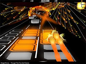"Audiosurf -  Audiosurf playing ""Through the Fire and Flames"", using the Ninja Mono character"