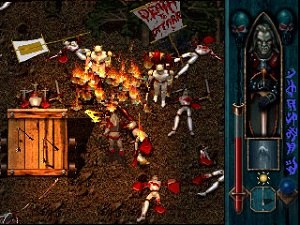 Blood Omen: Legacy of Kain - Screenshot of combat in the Battle of the Last Stand sequence. The heads-up display on the right indicates Kain's current equipment, health, and magic energy.