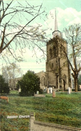 Church of St Mary the Virgin, Baldock - St Mary's church with spire in 1907