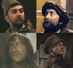 The four major incarnations of Baldrick; Top left: Series 1, Top right:Series 2, Bottom Left: Series 3 and Bottom Right: Series 4.