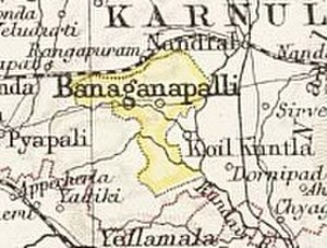 Banganapalle State - Map of the princely state of Banganapalle, 1893