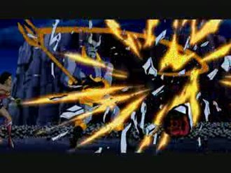 """Blue Devil (DC Comics) - Blue Devil in Justice League Unlimited in the episode """"Dark Heart"""" as he destroys robots with his trident."""