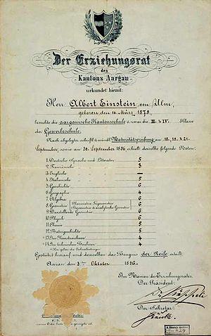 Academic standards - Einstein's school certificate, authorised by the Aargau education committee.