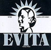 The cover of the 1979 American Broadway Original Cast Recording of Evita starring Patti Lupone as Eva Perón, Mandy Patinkin as Che Guevara, and Bob Gunton as Juan Peron.