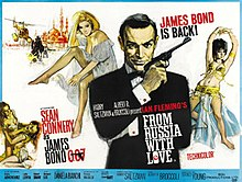 "The upper center of the poster reads ""Meet James Bond, secret agent 007. His new incredible women ... His new incredible enemies ... His new incredible adventures ..."" To the right is Bond holding a gun, to the left a montage of women, fights and an explosion. On the bottom of the poster are the credits."