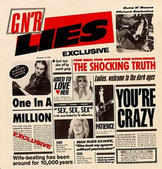 G N' R Lies - The original cover art for the album with the original text appearing in full.