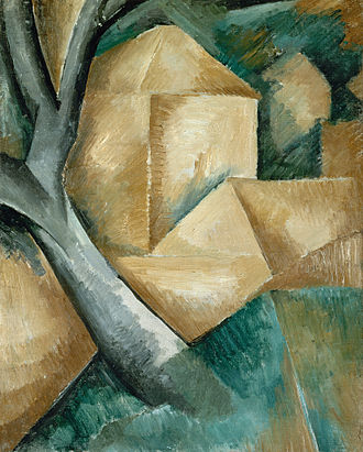 Georges Braque - Georges Braque, 1908, Maisons et arbre (Houses at l'Estaque), oil on canvas, 40.5 x 32.5 cm, Lille Métropole Museum of Modern, Contemporary and Outsider Art