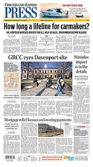 The Grand Rapids Press - Image: Grand Rapids Press front page