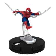Spider-Man swinging through the air, attached to a black base.