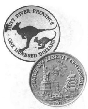 Principality of Hutt River - 1986 100 dollar Hutt River Province coin commemorating the centennial of the Statue of Liberty (front and back) manufactured by Johnson Matthey Refining, Rochester, New York