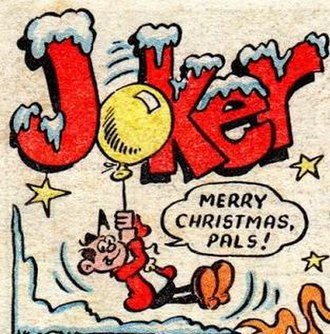 Joker (comic strip) - First title panel of a Christmas themed strip in Whizzer and Chips