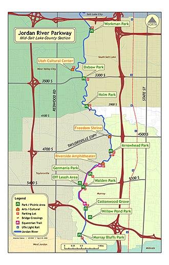 Jordan River Parkway - Map of Mid-Salt Lake County section of the Jordan River Parkway