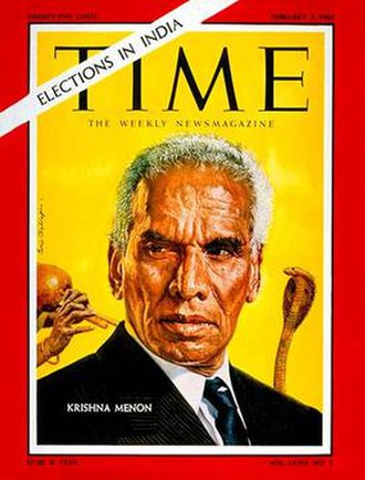 "V. K. Krishna Menon - Menon was frequently vilified in the Western press, which often described or depicted him as a ""snake-charmer"", as in TIME magazine's 1962 cover portrait."