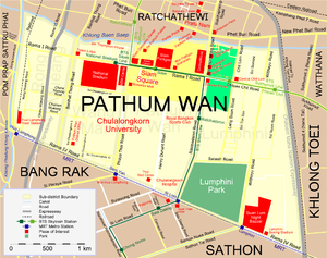 Siam area - Siam district is shown in yellow within Pathum Wan District, adjacent to Ratchaprasong, shown in light green.
