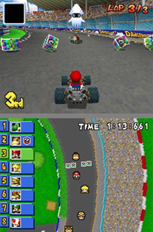 A video game screenshot with a racing kart on the top screen and a map of the race course on the bottom screen.