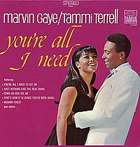 Marvin Gaye & Tammi Terrell on the cover of their second duets LP, You're All I Need