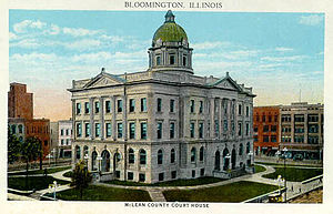 McLean County Courthouse and Square - This postcard from the early 20th century shows the McLean County Courthouse.