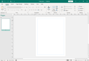 Microsoft Publisher 2013 running on Windows 8