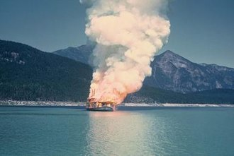 Minto (sternwheeler) - Minto on fire, 1 August 1968.