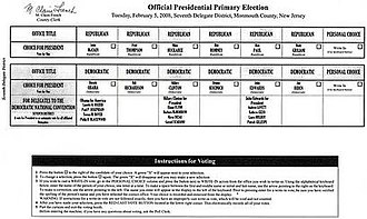2008 New Jersey Republican primary - Sample ballot for the presidential primary.