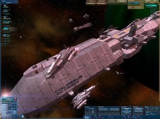 Real-time tactics - A supply ship with destroyer escort in Nexus: The Jupiter Incident.