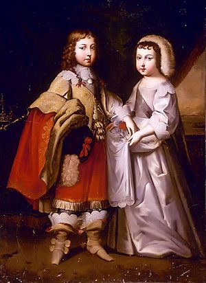 Breeching (boys) - Louis XIV and his unbreeched brother. In French royal portraits gender can be hard to tell, except by the absence of jewellery (1640s)