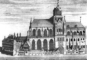 Egardus - A 1735 engraving of St Donatian's Cathedral in Bruges as it appeared about 270 years after Johannes Ecghaerd was appointed succentor in 1370