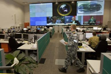Staff at work in the HQJOC Joint Control Centre at Bungendore