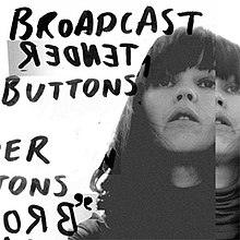 "A black-and-white picture of a woman. Handwritten black text to the left reads ""Broadcast Tender Buttons""; ""Tender"" is written backwards. Partial repetition of the text is visible to the bottom left."