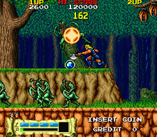 Screenshot of the arcade version of The Astyanax.