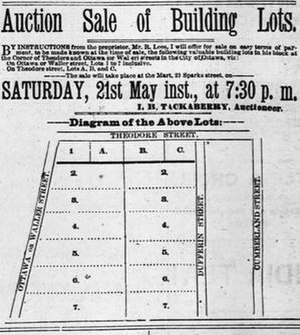 Rideau Skating Rink - Advertisement for sale of land where the Rideau Skating Rink was to be built.