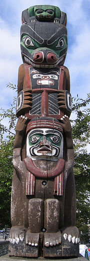 Totem pole on the inner harbour.