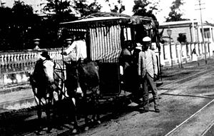 Rail transport in Puerto Rico - A passenger car in Suau Park in Mayagüez in 1898.