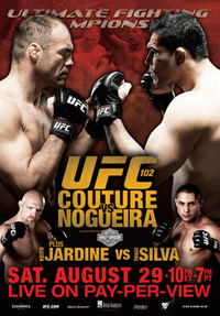 A poster or logo for UFC 102: Couture vs. Nogueira.